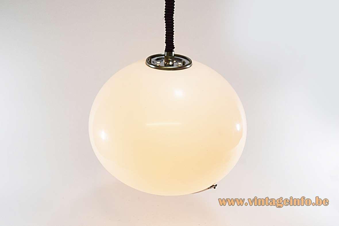 Harvey Guzzini pendant lamp Jolly 1968 design: Luigi Massoni small round acrylic lampshade chrome handle 1970s