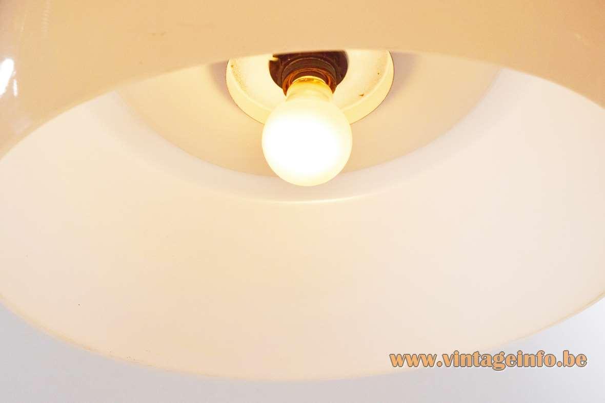 Harvey Guzzini rise & fall pendant lamp design: Luigi Massoni white acrylic lampshade chrome lid 1960s 1970s
