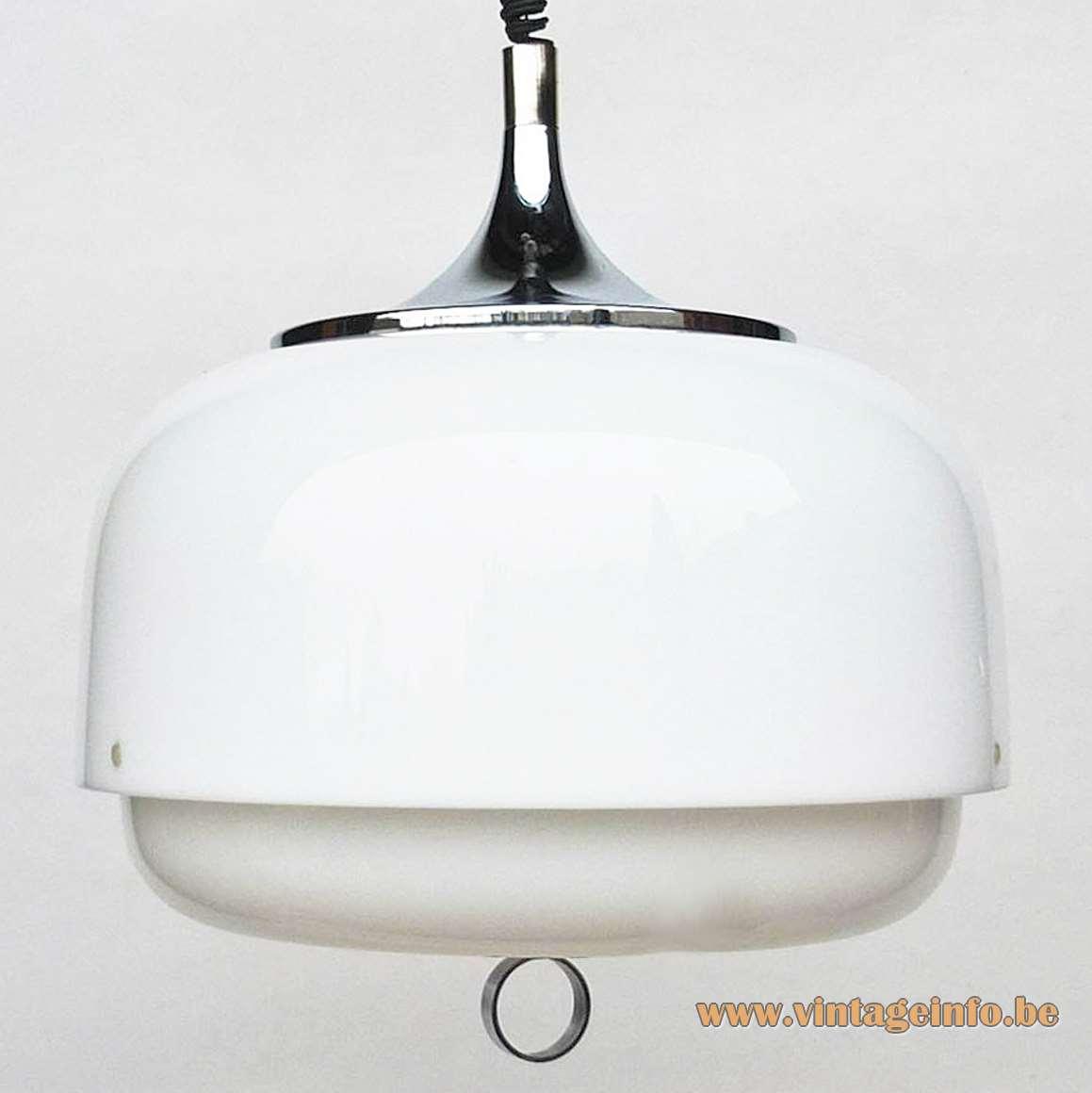 Harvey Guzzini rise & fall pendant lamp Luigi Massoni 1960s 1970s acrylic chrome Rolly Italy E27 socket