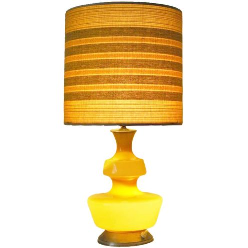 Holmegaard table lamp 1970s glass 3 light settings E27 sockets Boom Rupel 1960s MCM fabric lampshade