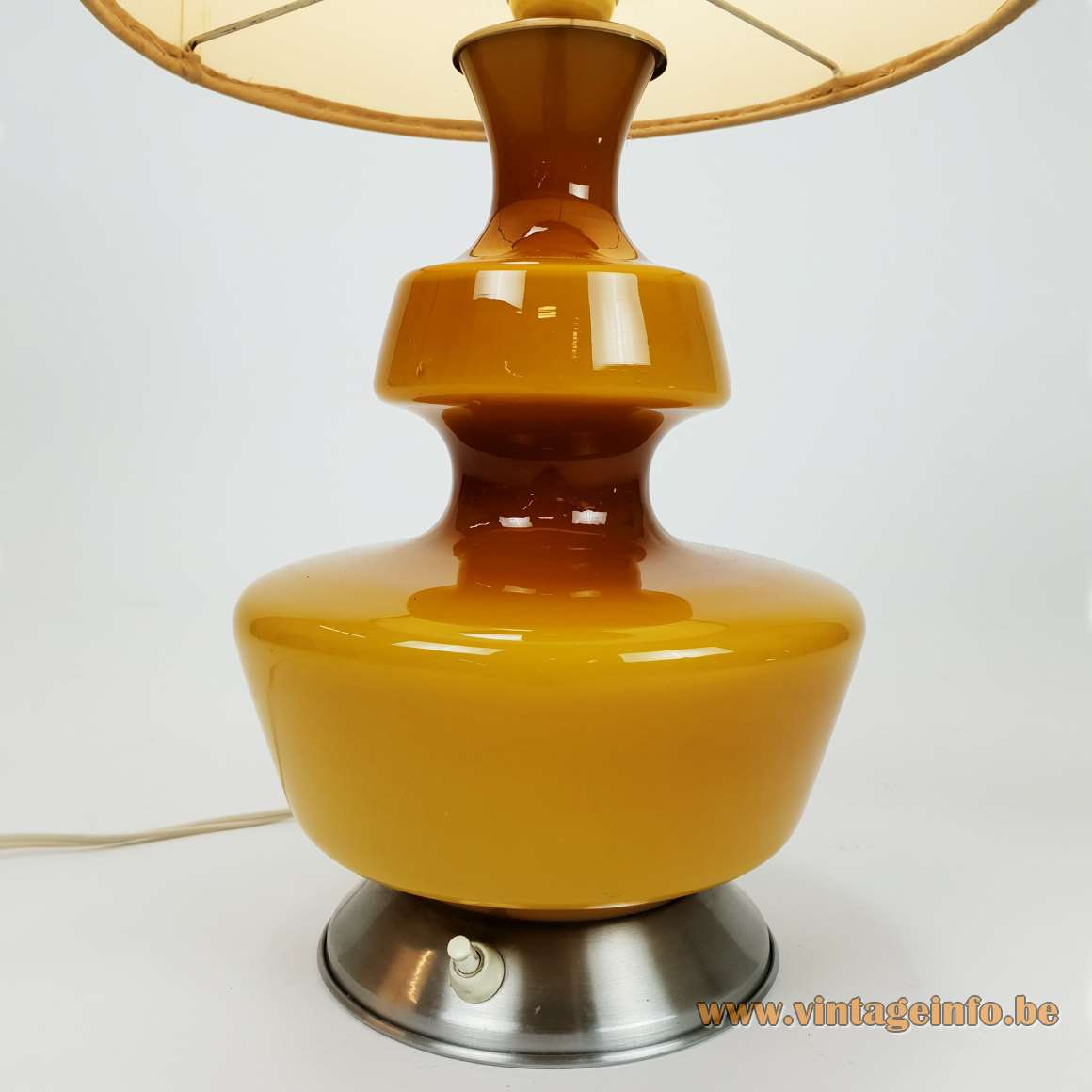 Holmegaard table lamp aluminium base yellow-ochre glass round striped fabric lampshade 1960s 1970s Massive Belgium