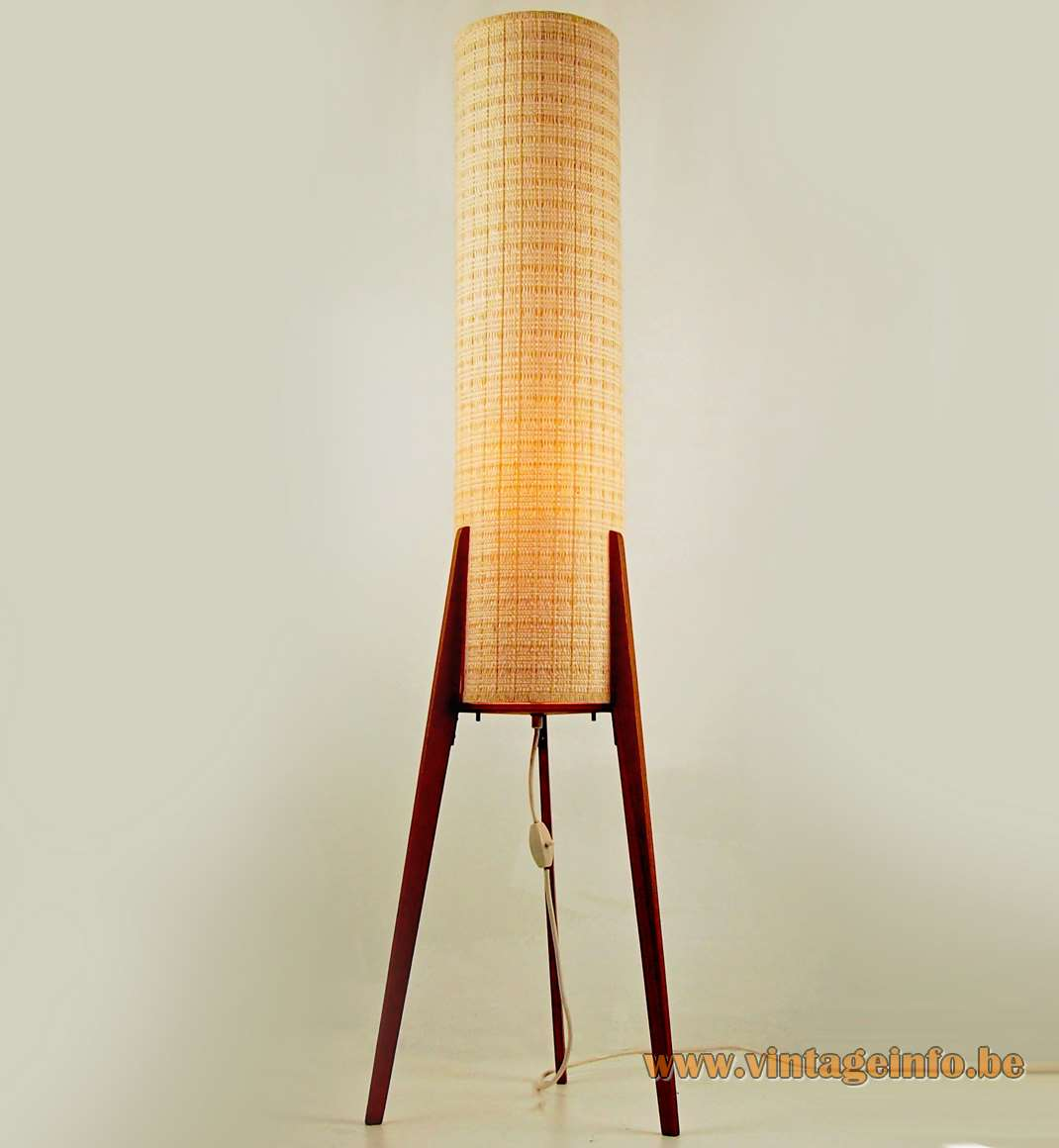 Leclaire & Schäfer trypod rocket floor lamp pine wood legs fabric tubular lampshade E27 socket Germany