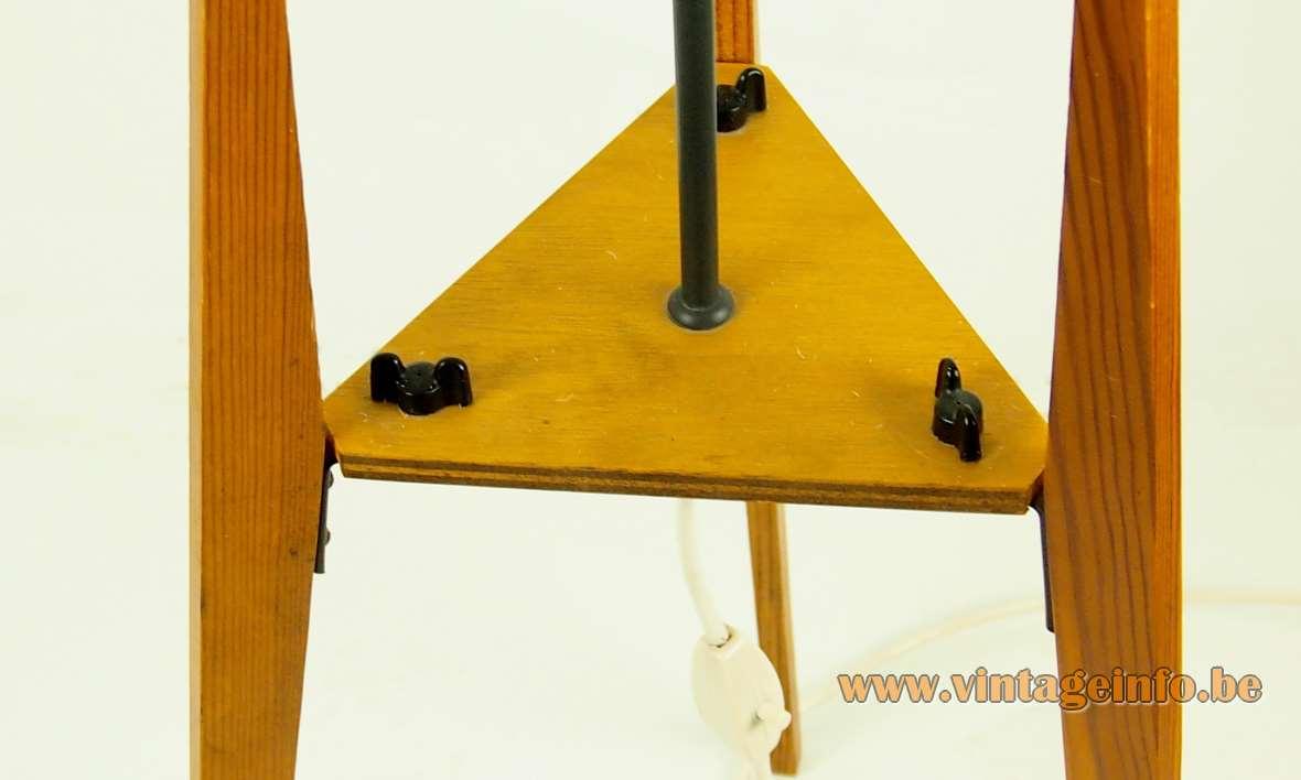 Leclaire & Schäfer rocket floor lamp pine wood tripod legs fabric tubular lampshade 1960s Germany E27 socket