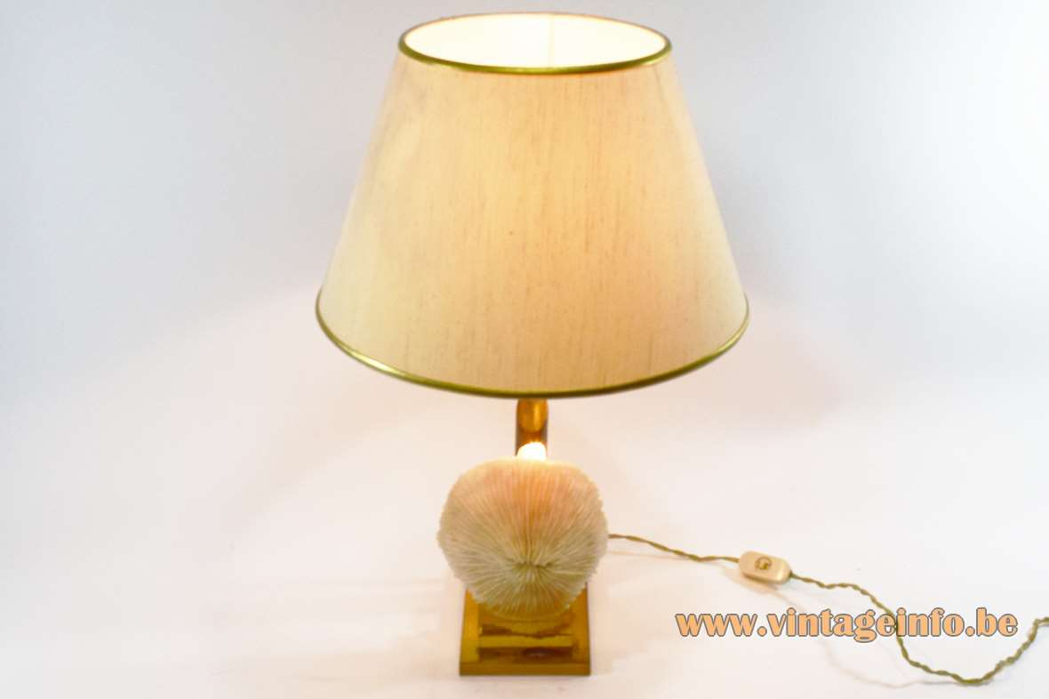 Mushroom coral table lamp rectangular brass base clear polyester mount conical fabric lampshade 1970s Belgium France