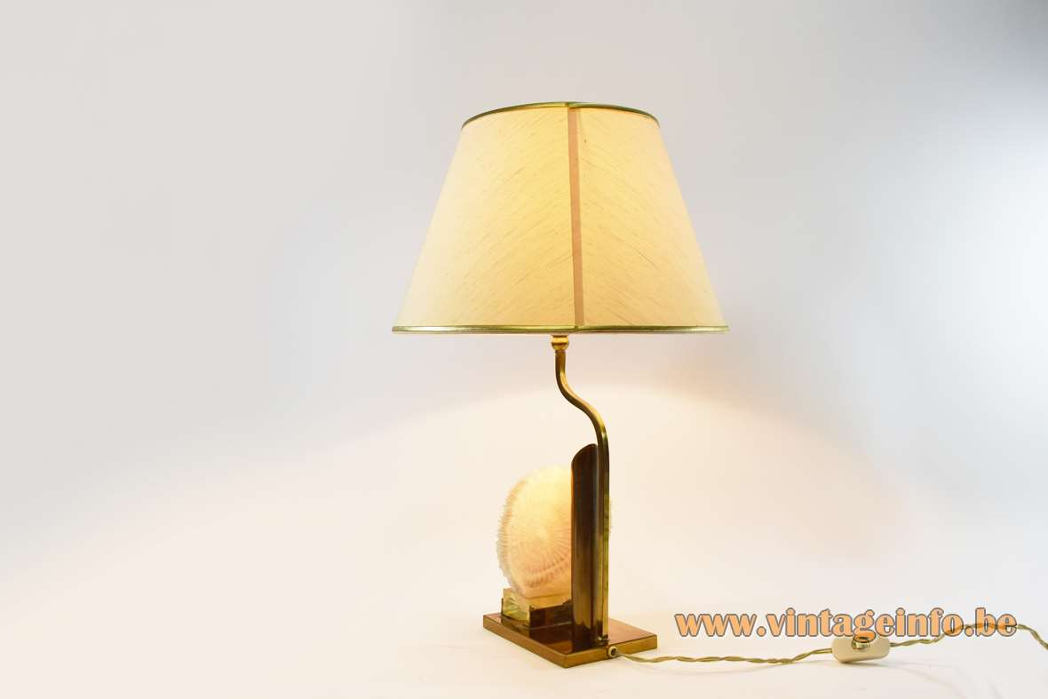 1970s mushroom coral table lamp brass base with 2 light bulbs fabric lampshade Belgium France MCM