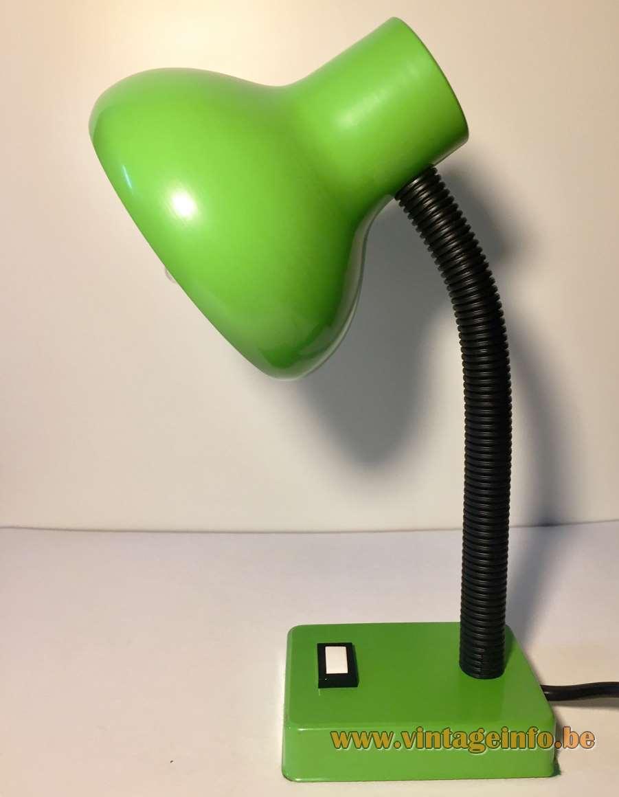 Pfäffle 1970s desk lamp rectangular green metal base black plastic tube gooseneck round green lampshade Germany