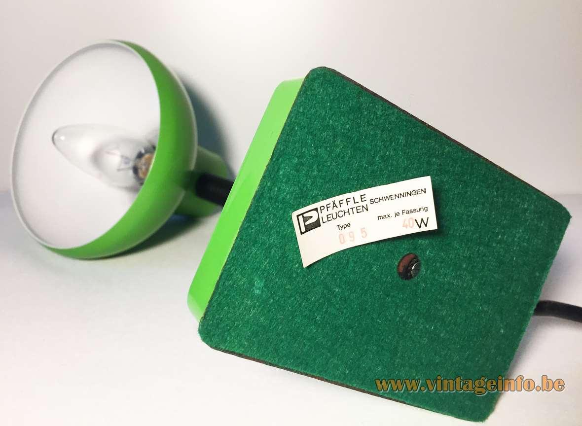 Pfäffle 1970s desk lamp rectangular green metal base black plastic tube gooseneck round lampshade Germany label