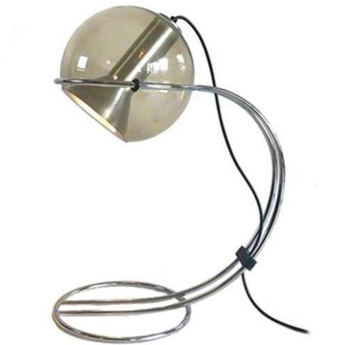 Raak Tropic table lamp 1970s design Frank Ligtelijn smoked glass globe curved chrome double wire rod