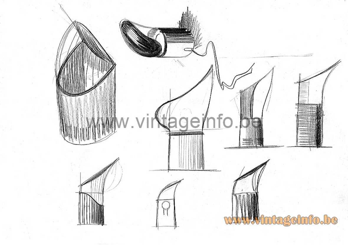 Rodolfo Bonetto Nitia table lamp sketch Design House Harvey Guzzini 1972 acrylic E14 socket 1970s MCM Perspex