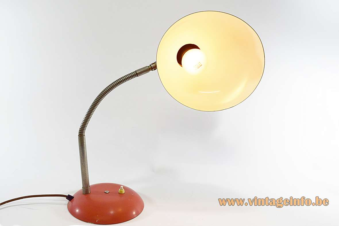 SIS Bauhaus desk lamp pink-red round lampshade curved base chrome gooseneck 1960s Germany Christian Dell