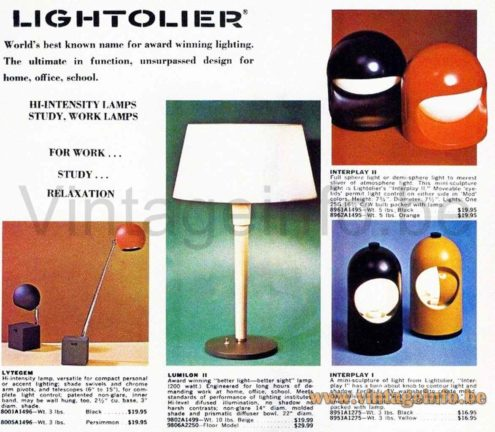 Selene Eclips Table Lamp - Lightolier Interplay 1 Catalogue Picture