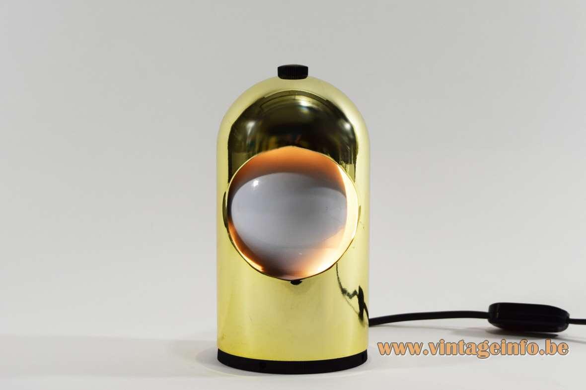 Selene eclipse table lamp gold metal lampshade Lightolier ABM Italy E14 socket 1960s 1970s Alfredo Bianchi
