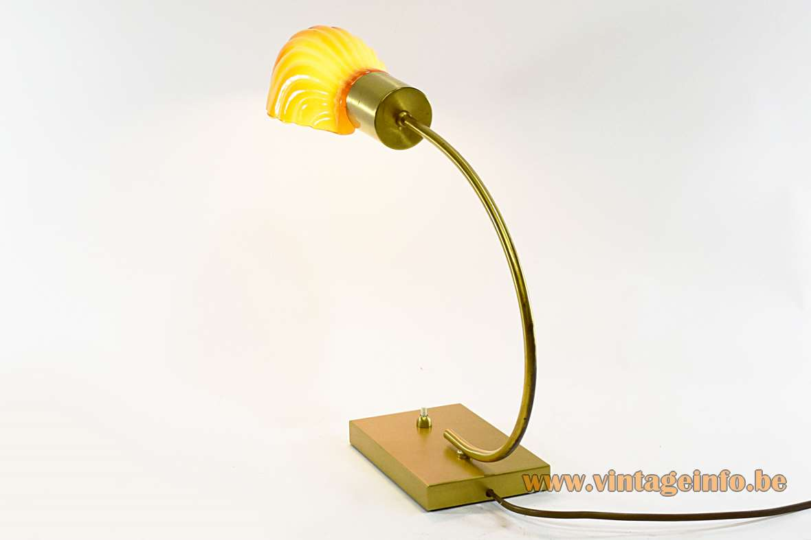 Brass shell desk lamp rectangular metal base curved rod orange glass lampshade 1970s 1980s Massive Belgium