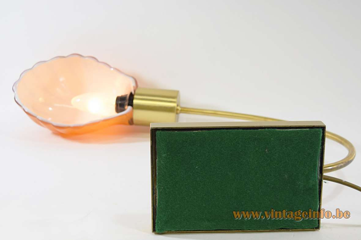 Orange glass shell desk lamp gold coloured metal brass E14 socket 1970s 1980s Massive Belgium