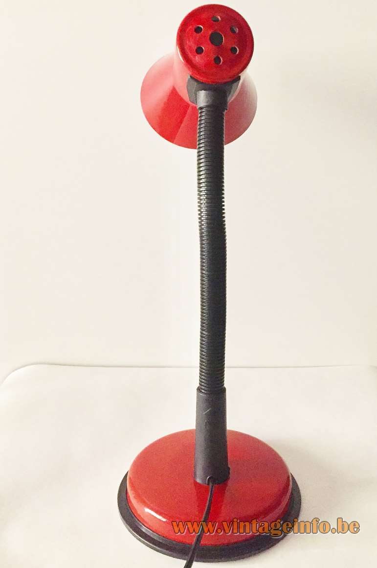 Veneta Lumi 1990s desk lamp red round base and lampshade black gooseneck E27 socket Italy