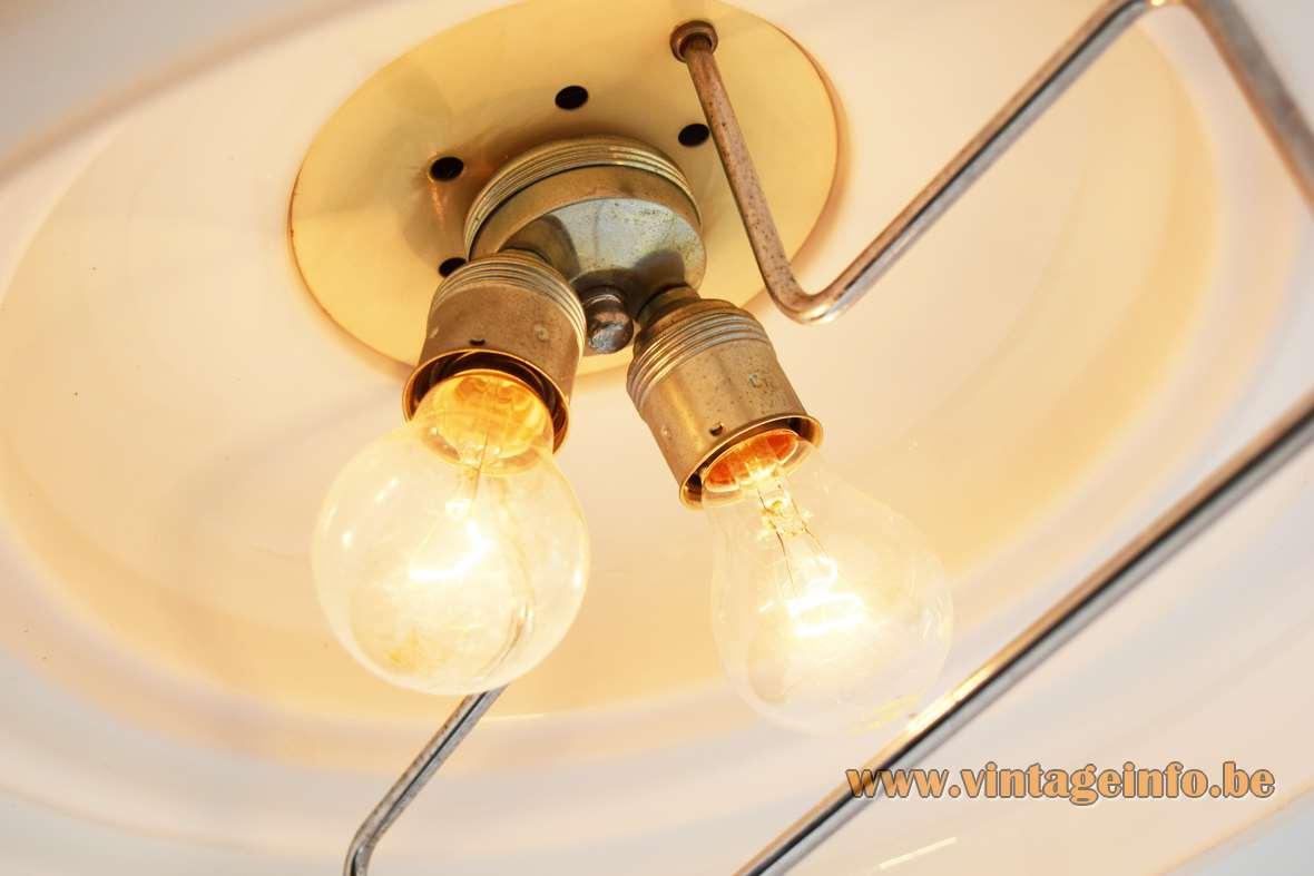 White & smoked acrylic rise & fall pendant lamp round lampshade chrome handle 1970s Massive Belgium E27 sockets