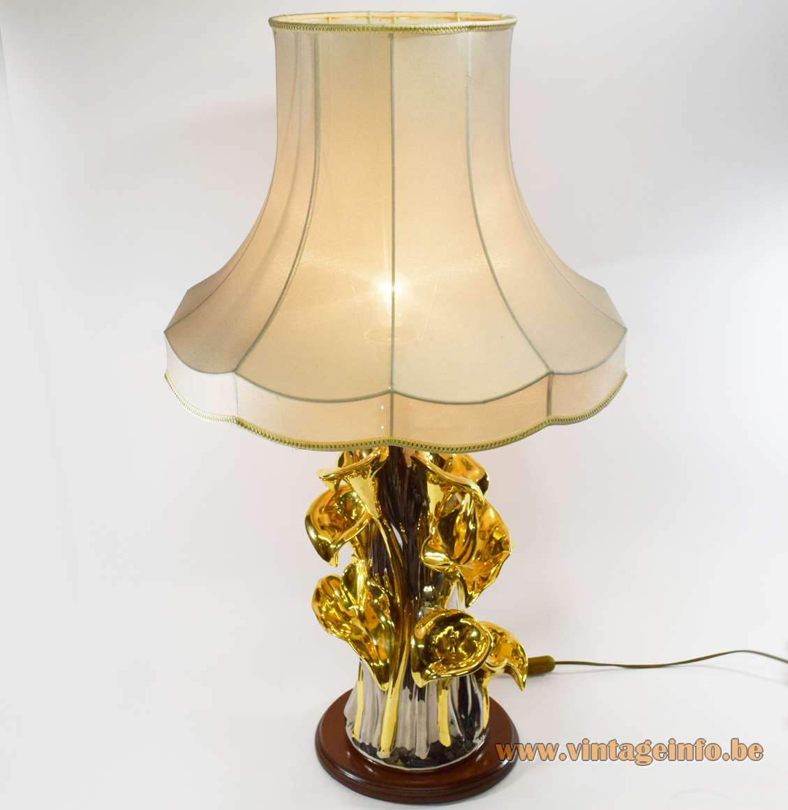 Zaccagnini Arum table lamp ceramics Florence Italy Porcellane San Marco anthurium flower 1970s 1980s