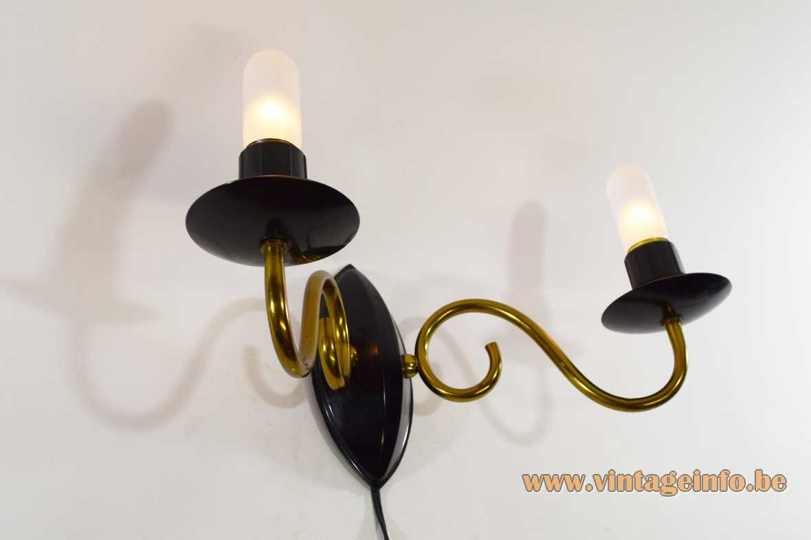 1950s candle wall lamp curved brass rods black painted metal 2 E27 sockets 1960s MCM