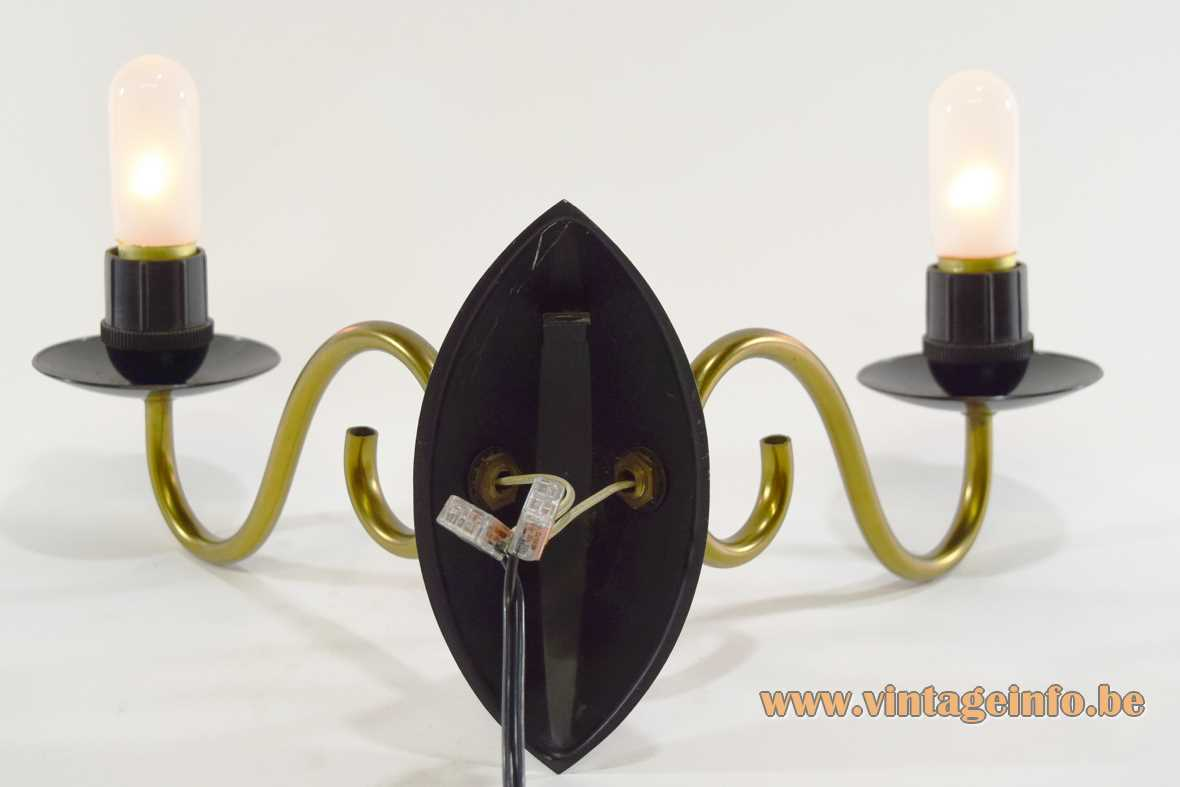 1950s candle wall lamp curved brass rods black painted metal 2 E27 sockets 1960s MCM - back