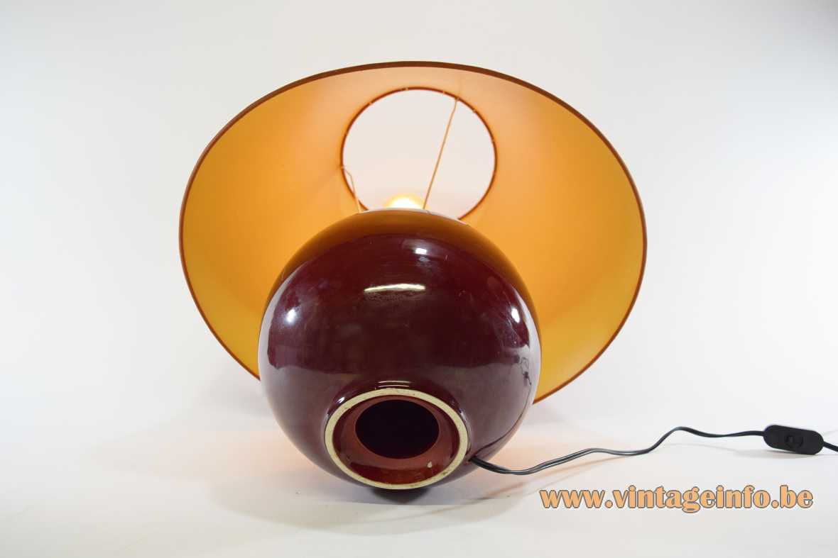 1970s ceramic globe table lamp aubergine eggplant coloured round ball conical fabric lampshade Massive Belgium 1960s