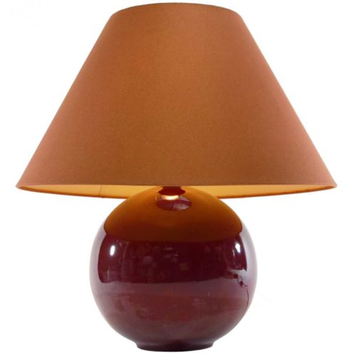 1970s eggplant colour ceramic globe table lamp aubergine round ball conical fabric lampshade 1960s