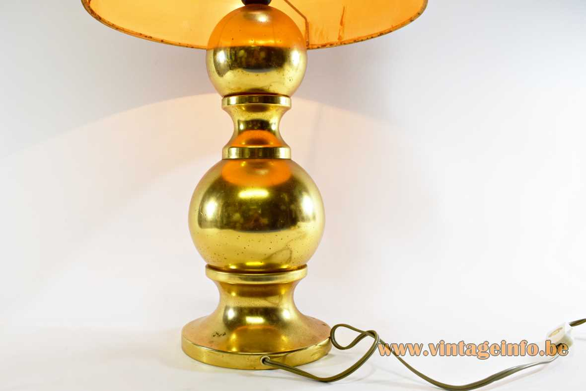Big 1970s Massive Belgium gold coloured table lamp tube lampshade metal globes balls Barbier style