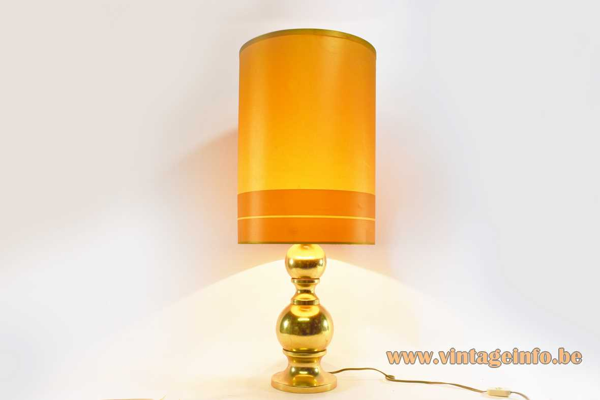 1970s Massive Belgium gold table lamp 2 globes big tubular yellow orange lampshade E27 socket