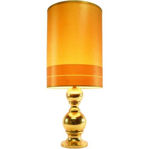 Big 1970s Massive Belgium gold coloured table lamp tube lampshade metal globes balls Barbier style
