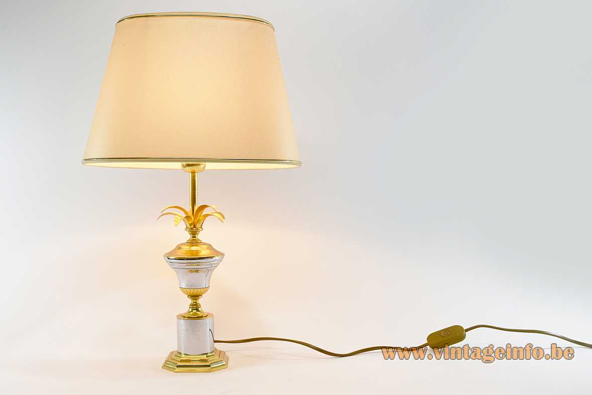 1980s palm leaves table lamp brass base chrome urn reeds conical fabric lampshade Massive Belgium 1970s