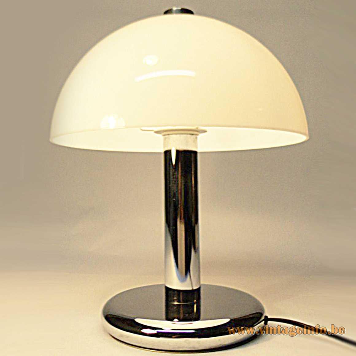 Acrylic & chrome mushroom table lamp chrome round base white acrylic lampshade Massive Belgium 1980s 1990s