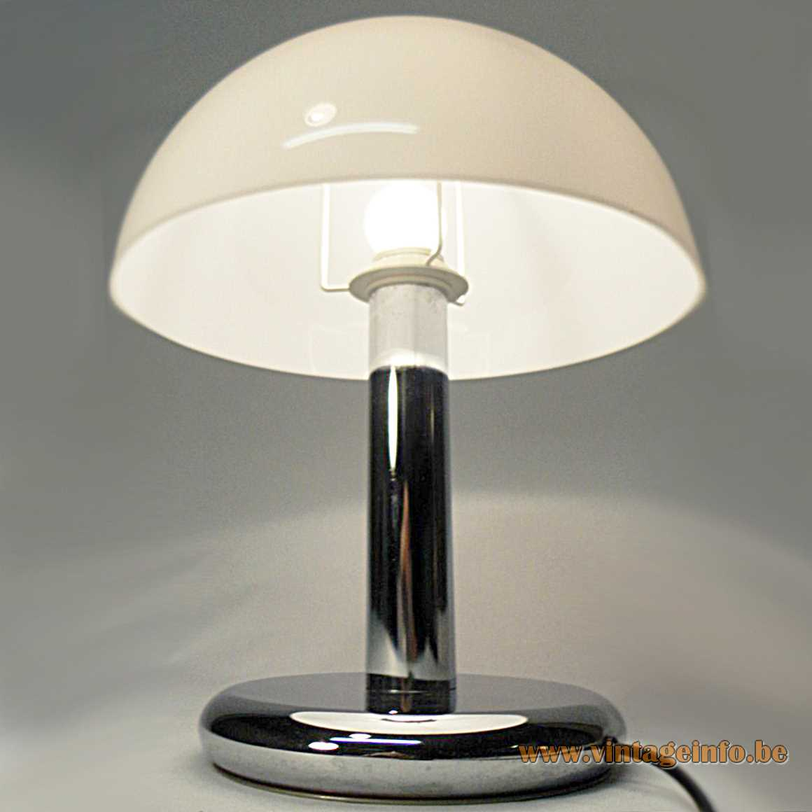 Acrylic & chrome mushroom table lamp round base & rod white plastic lampshade Massive Belgium 1970s 1980s