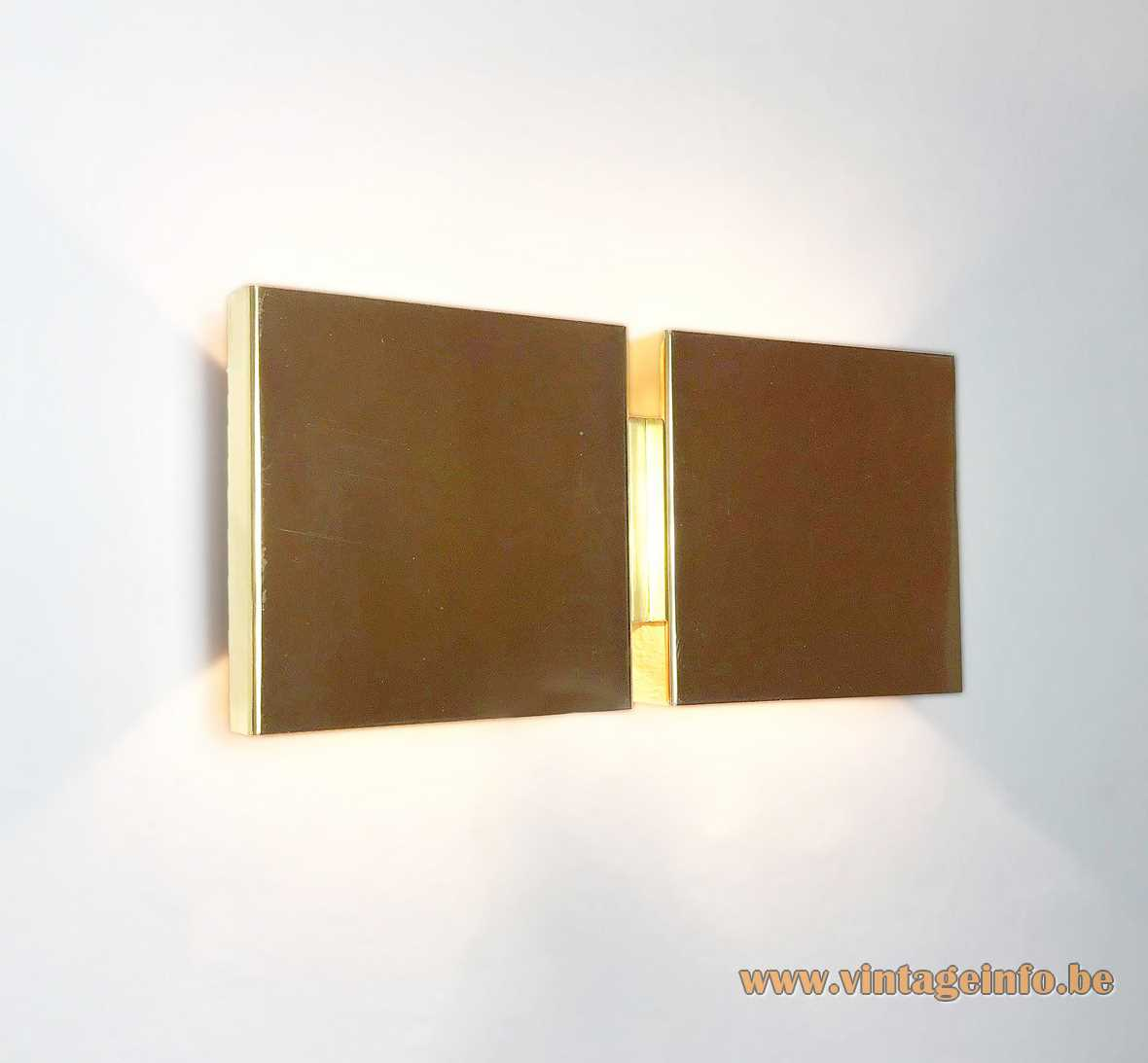 Christophe Gevers brass cubistic wall lamps 1970s Light OLight E14 sockets MCM Belgium