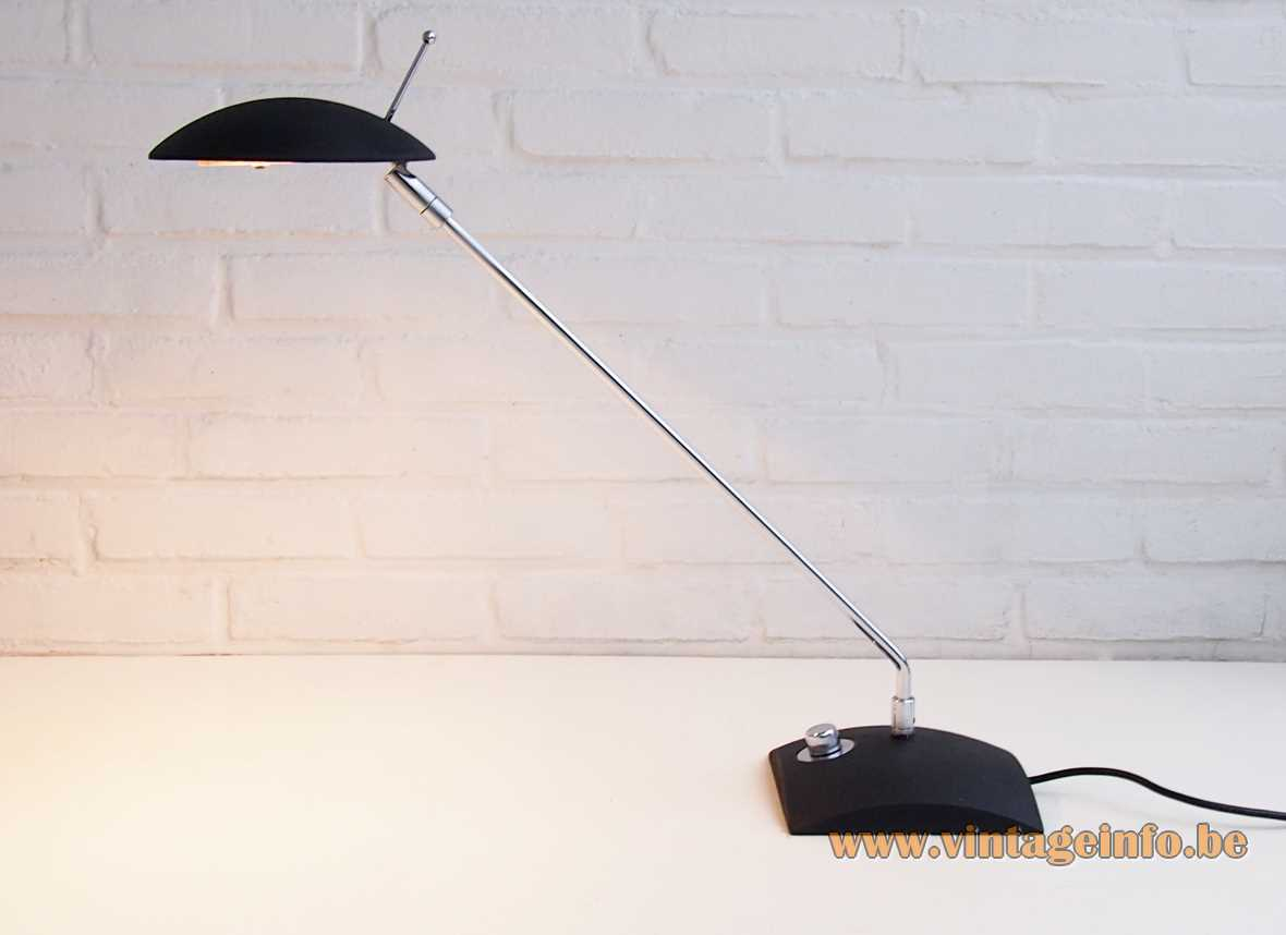 Chrome Hillebrand 7702 desk lamp black square base long chrome rod disk lampshade 1980s 1990s Germany