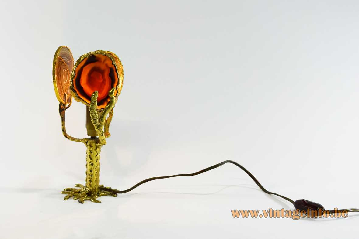 1970s Henri Fernandez agate table lamp brass Hollywood Regency 3 agate discs E14 socket 1980s