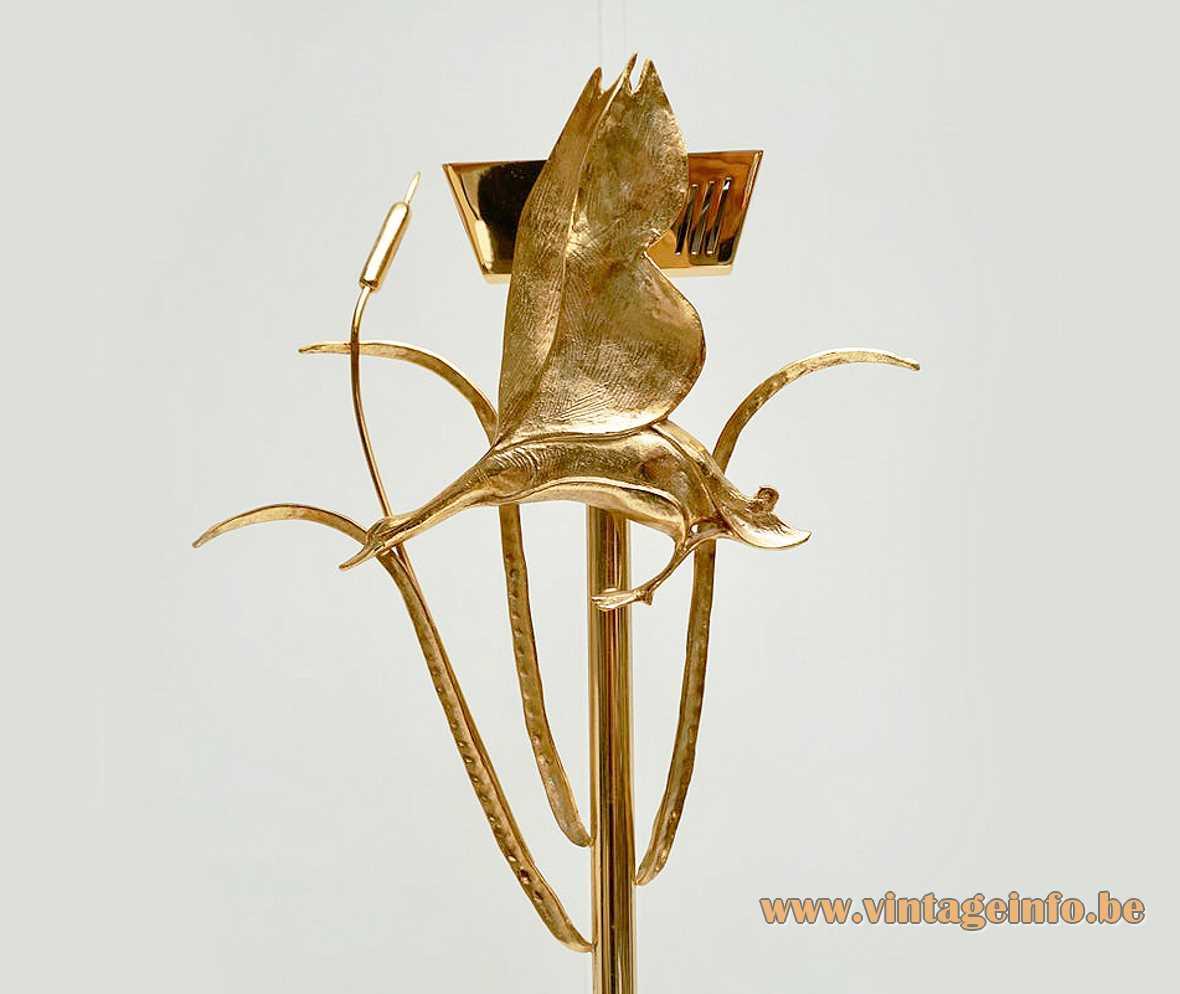L'Originale herons brass floor lamp birds uplighter R7s halogen bulb marble base Florence Italy 1970s 1980s