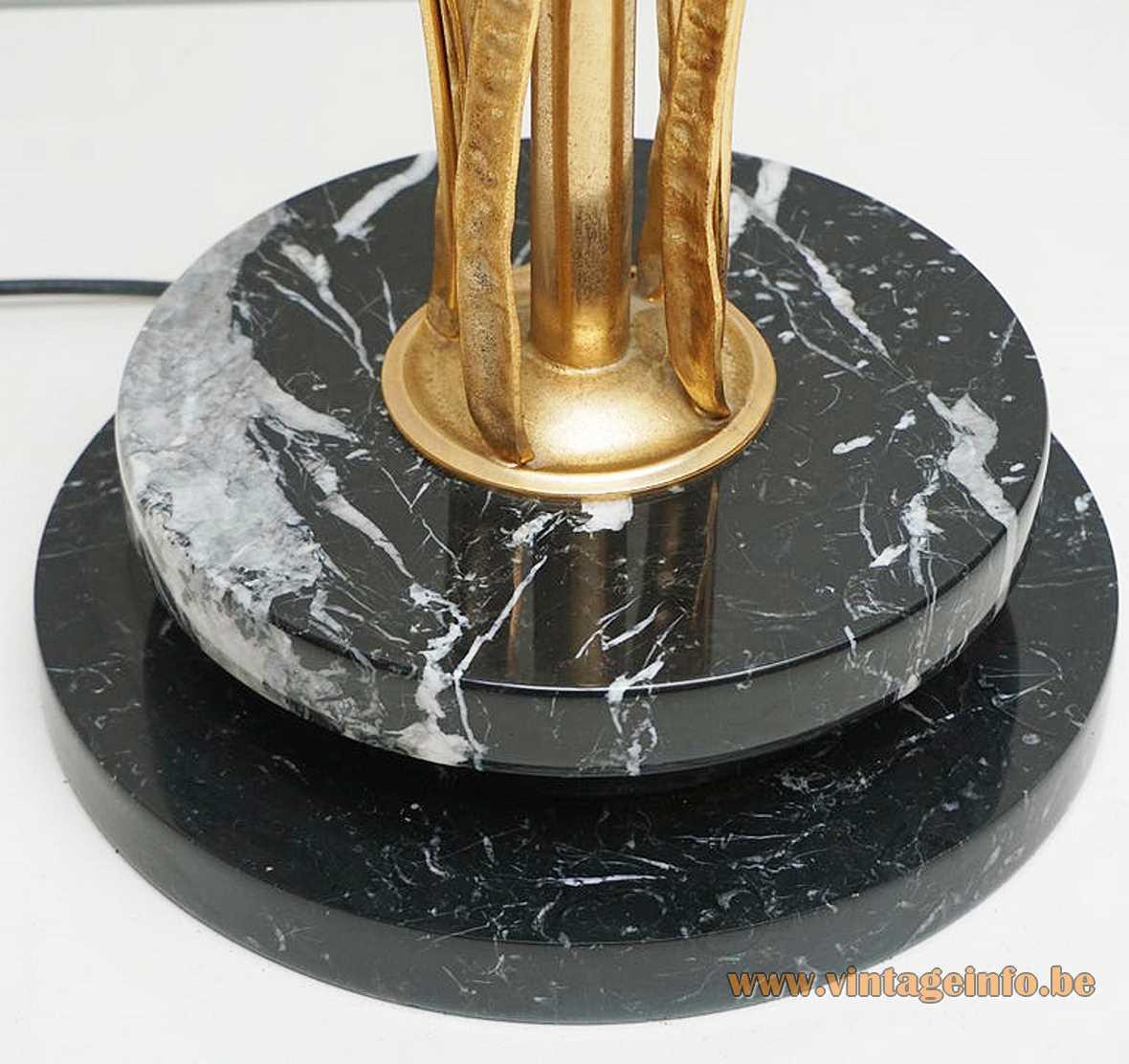 L'Originale herons floor lamp round black marble base brass birds & bulrush reed 1970s 1980s Italy halogen
