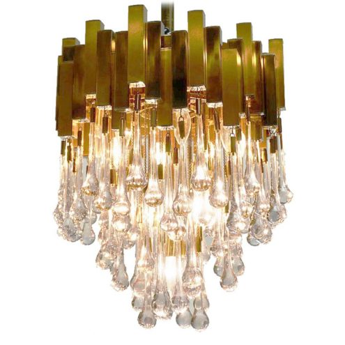 BD Lumica brass teardrop chandelier square metal tubes clear crystal glass drops 1970s Sciolari Willy Rizzo