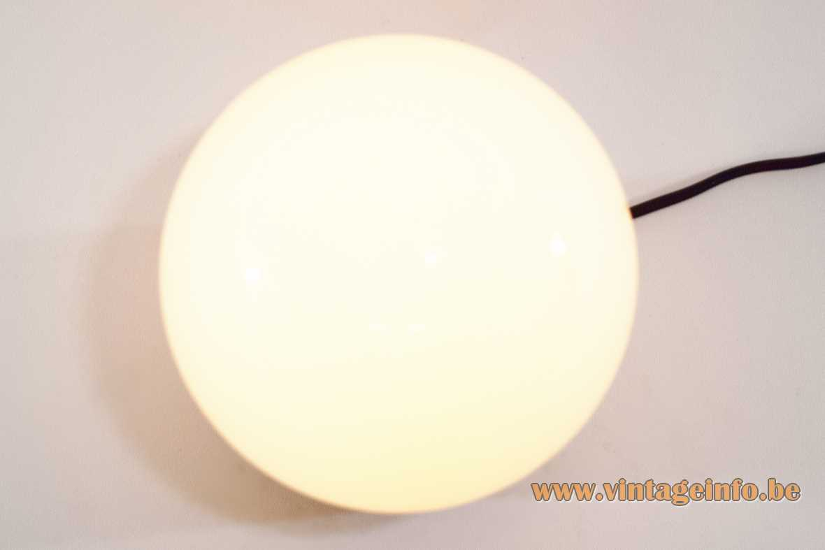 Niko globe flush mount round Bakelite base white opal glass Bo-Niko 1950s 1960s 1970s Belgium