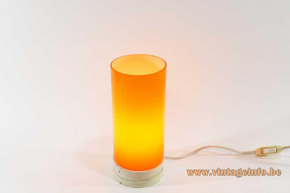 Orange glass tube table lamp white round wood base E14 socket Massive Belgium 1960s 1970s MCM