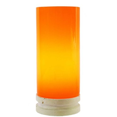 Orange glass tube table lamp white wooden round base E14 socket Massive Belgium 1960s 1970s MCM