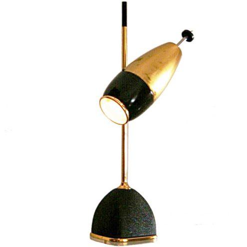 Oscar Torlasco table lamp 577 square base brass rod optic lens lampshade Lumi Italy 1950s 1960s
