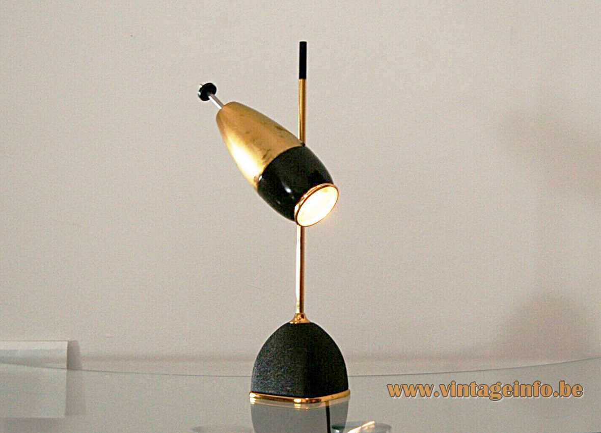 Oscar Torlasco table lamp 577 square base brass rod optic lens lampshade Lumi Italy 1950s 1960s