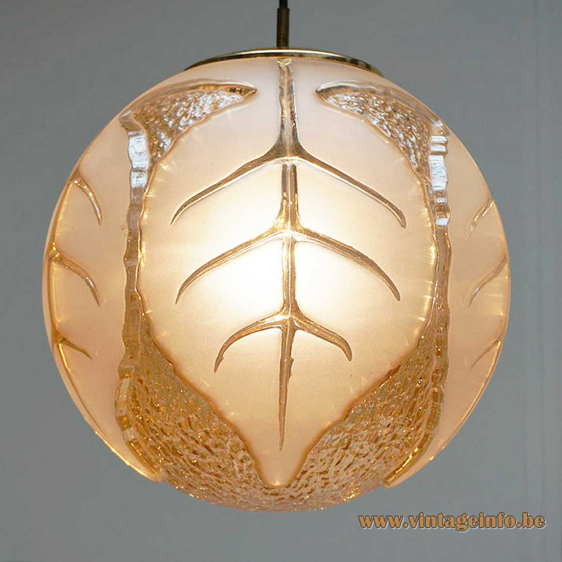 Peill + Putzler globe pendant lamp amber hand blown glass lampshade frosted leaves design 1970s 1980s Germany