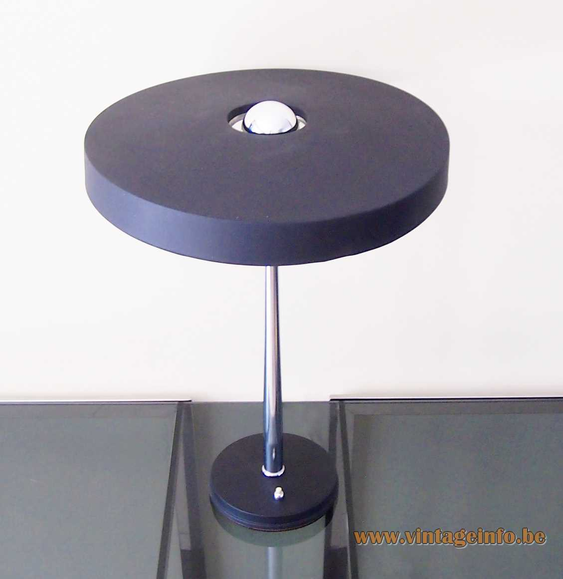 Philips Timor 69 desk lamp design: Louis Kalff aluminium mushroom UFO lampshade chrome rod 1970s 1980s