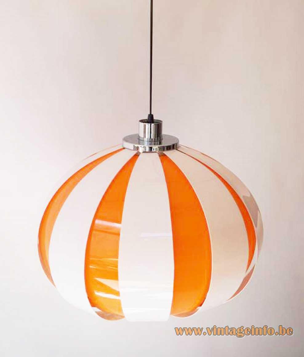 Plastic slats pendant lamp chrome rings white orange curved acrylic globe 1960s 1970s Massive Belgium