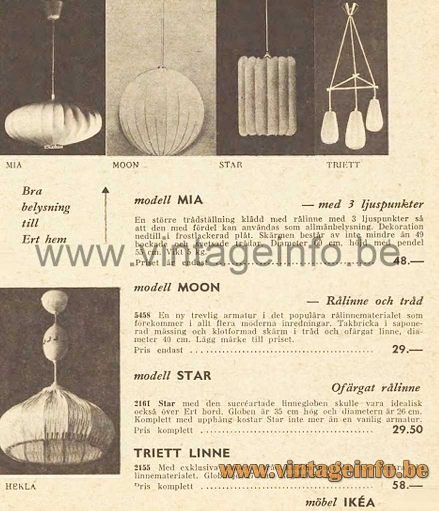Raak Chrysaline Pendant Lamp - 1957 IKEA Catalogue Picture