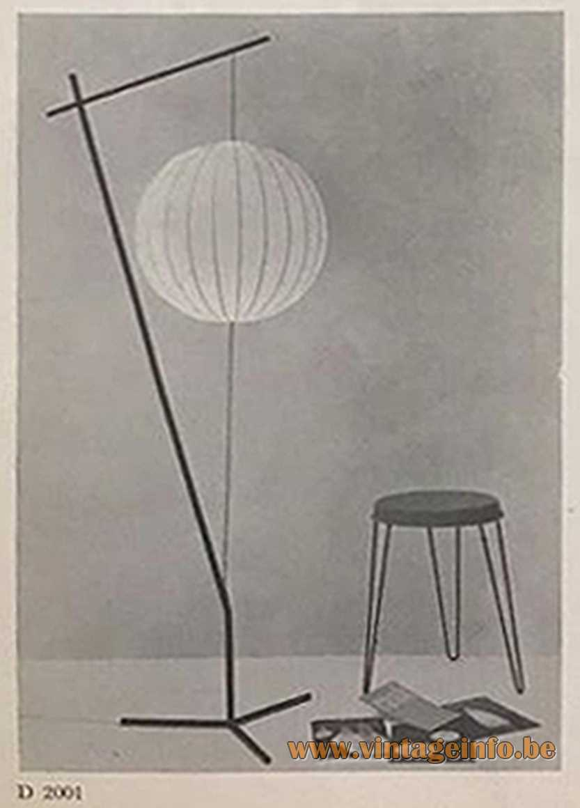 Raak D-2004 floor lamp - Cocoon globe metal rods frame tripod 1960s Raak catalogue 3 1950s MCM Mid-Century Modern