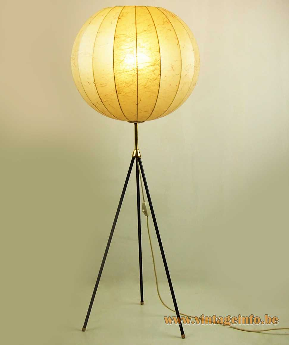 Tripod cocoon floor lamp black metal rods plastic globe Achille Castiglioni Aro Leuchte Germany 1960s 1970s