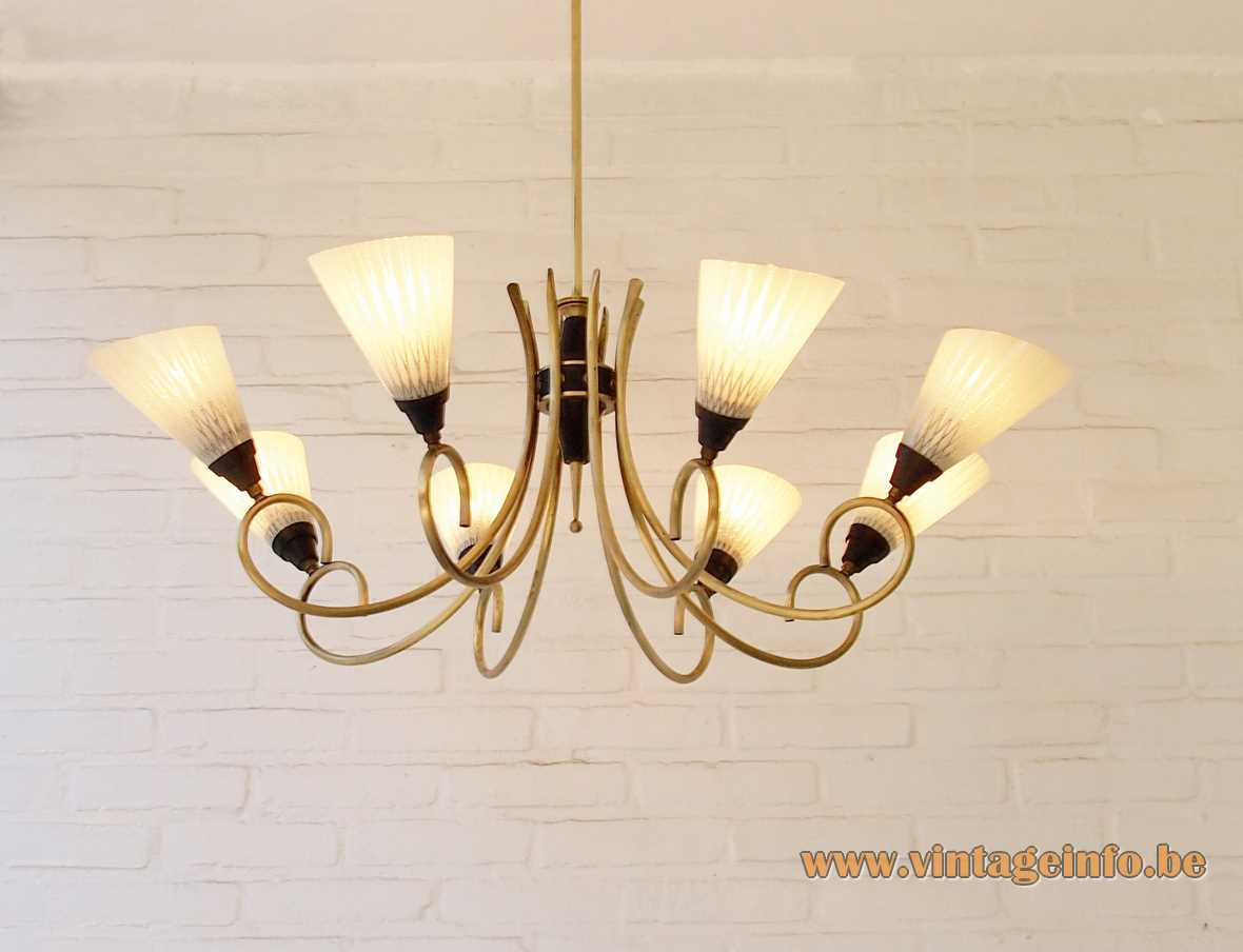 1950s 8-light spider chandelier amber glass brass curverd rods E14 lamp sockets Germany 1960s MCM
