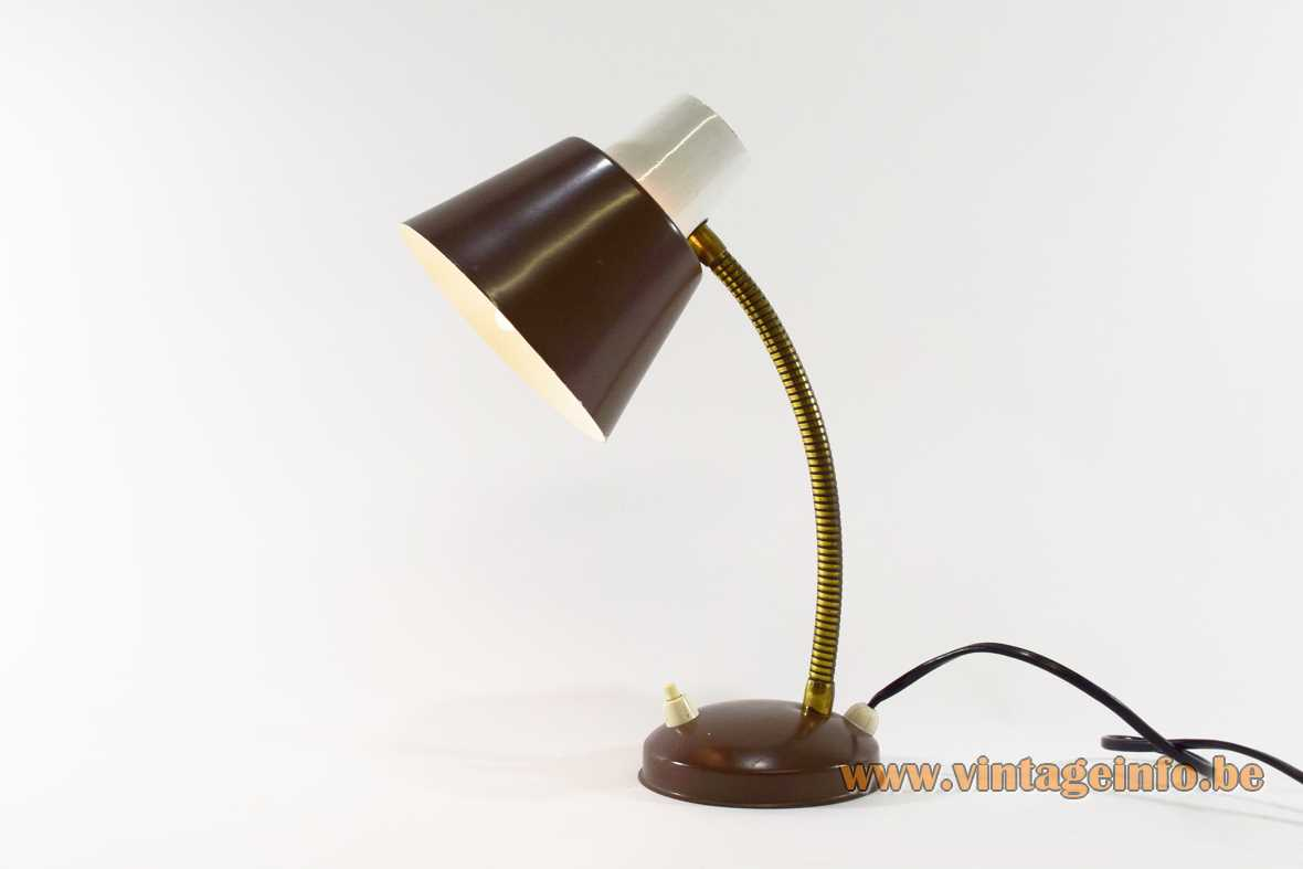 960s Hala gooseneck desk lamp brown round base brass goose-neck brown conical lampshade 1970s The Netherlands